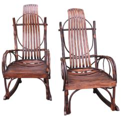 Bent Wood Rocking Chair Upholstered Kitchen Chairs With Casters Pair Of Matching Amish Bentwood At 1stdibs