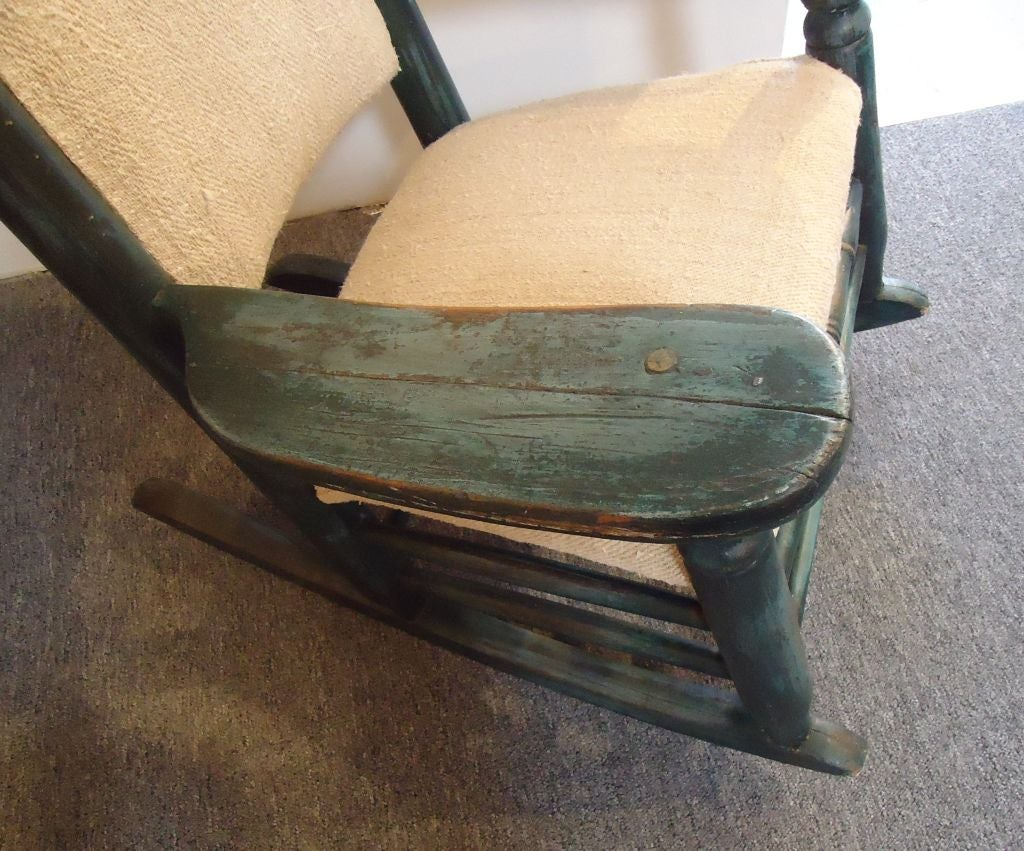 green rocking chair white plastic outdoor chairs folky 19thc original over blue painted