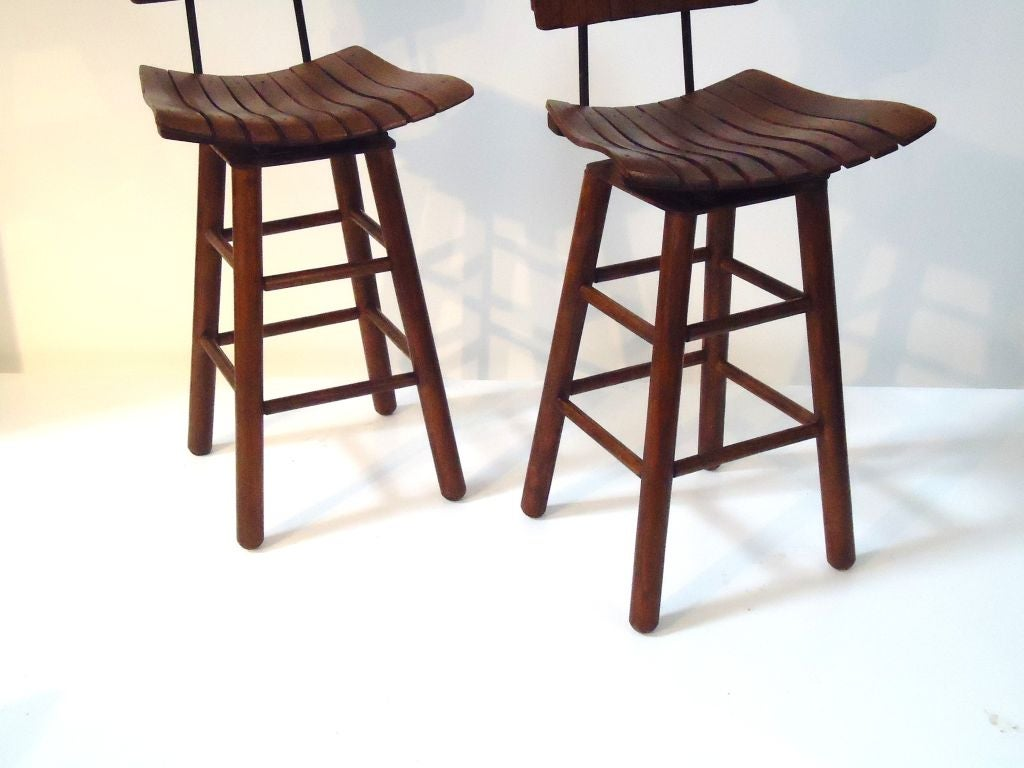 chair stool with back table for kids pair of rustic swivel bar stools backs at 1stdibs
