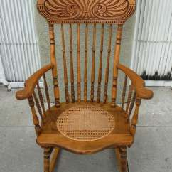 Solid Oak Pressed Back Chairs Swivel Tub Living Room 19thc Pine And Victorian Rocking Chair W/ Cane Seat At 1stdibs
