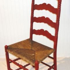 Ladder Back Cane Seat Dining Chairs Rocking Johannesburg 19thc Original Salmon Painted Tall Ladderback Chair /rush At 1stdibs