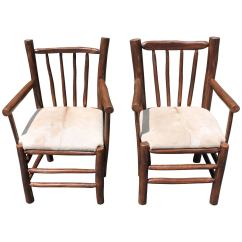 Hickory Chairs For Sale Couch And Pair Of Rustic With Cow Hide Seats