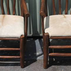 Hickory Chairs For Sale Blue And White Upholstered Pair Of Rustic With Cow Hide Seats
