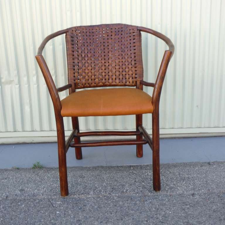 1930s Old Hickory Barrel Back Side Chair W Leather Seat