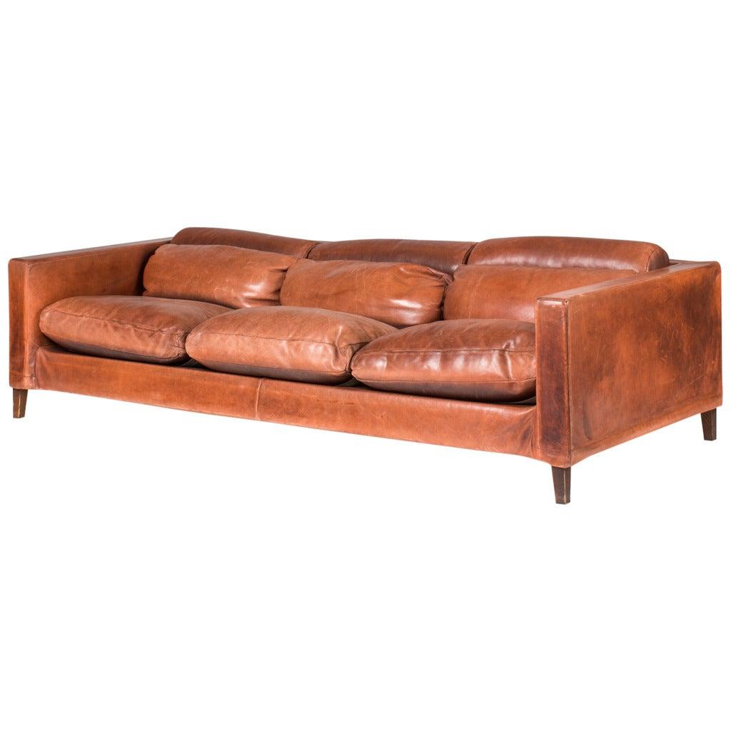 buffalo leather chair blue striped italian sofa at 1stdibs