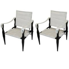 Canvas Sling Chair Into Bedside Table Pair Of Ebonized Safari Back Chairs Upholstered In