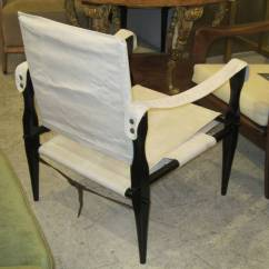 Canvas Sling Chair Acrylic Office Pair Of Ebonized Safari Back Chairs Upholstered In