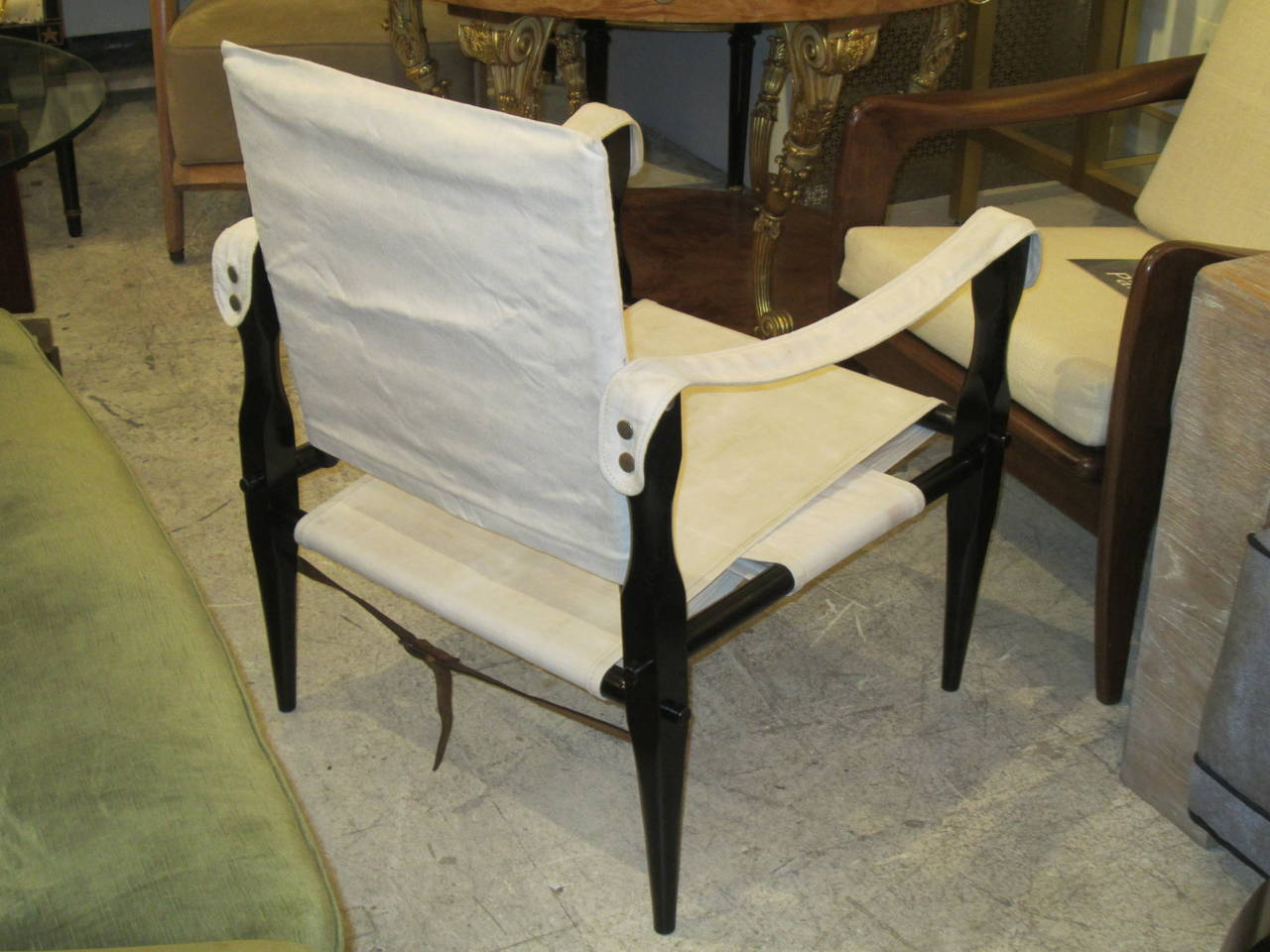Canvas Sling Chair Pair Of Ebonized Safari Sling Back Chairs Upholstered In