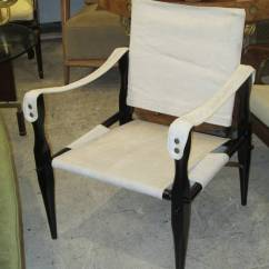 Canvas Sling Chair Graco Hook On Table High Pair Of Ebonized Safari Back Chairs Upholstered In