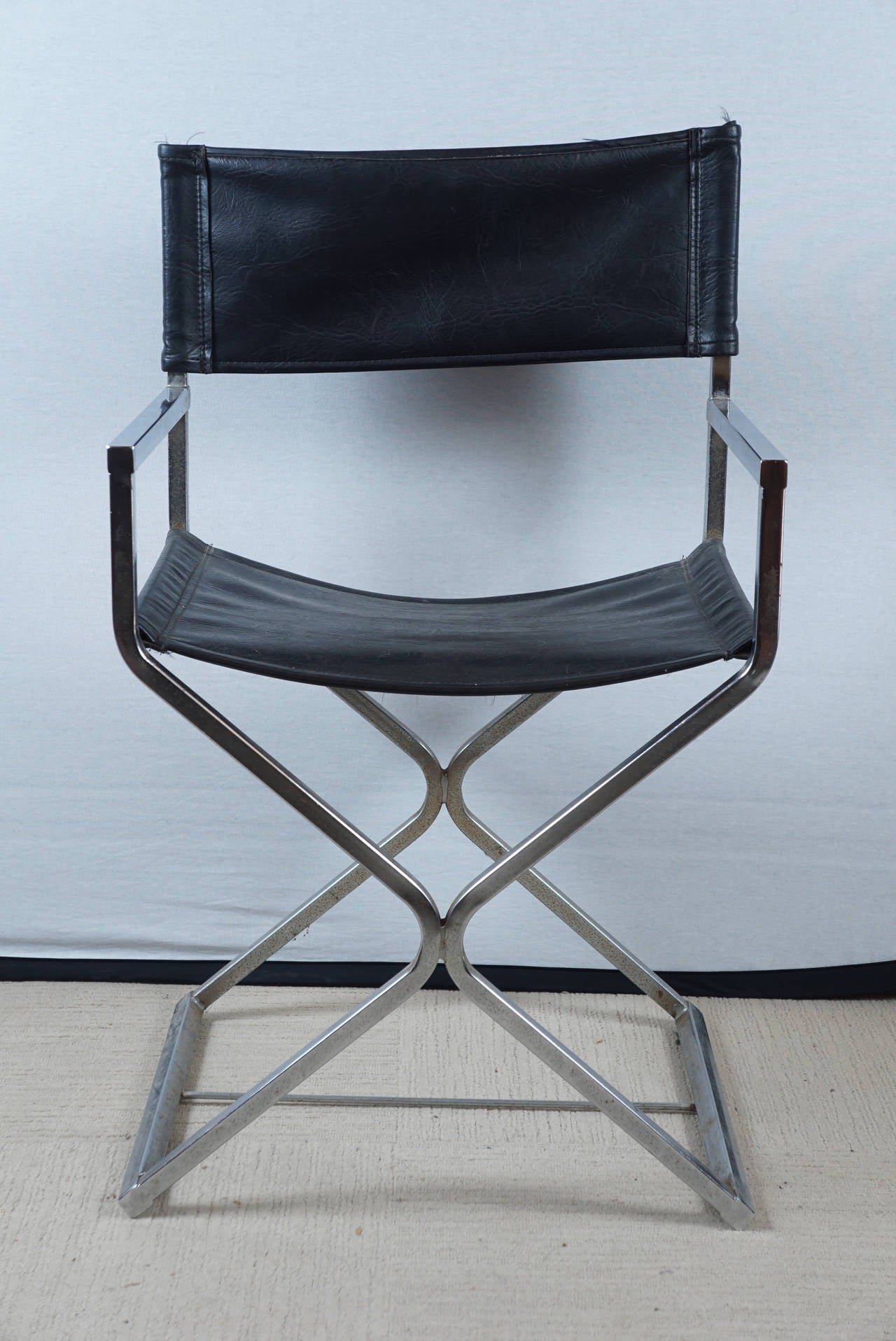 leather directors chair chairscape flooring milo baughman at 1stdibs