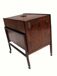 Danish Rosewood Rolling Bar Cabinet at 1stdibs