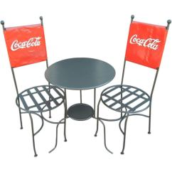 Coca Cola Chairs And Tables Hanging Chair Indoor Ceiling A Bistro Table Trio Americana 1950s At 1stdibs