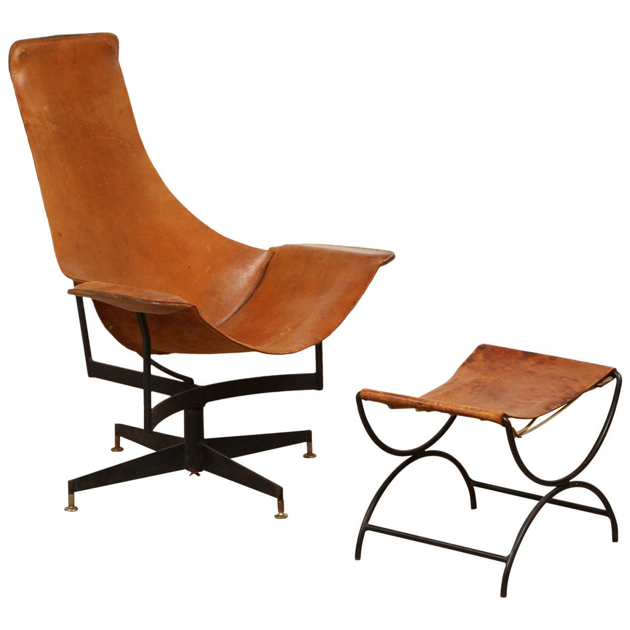 swivel chair and ottoman with pad leather by max gottschalk at 1stdibs