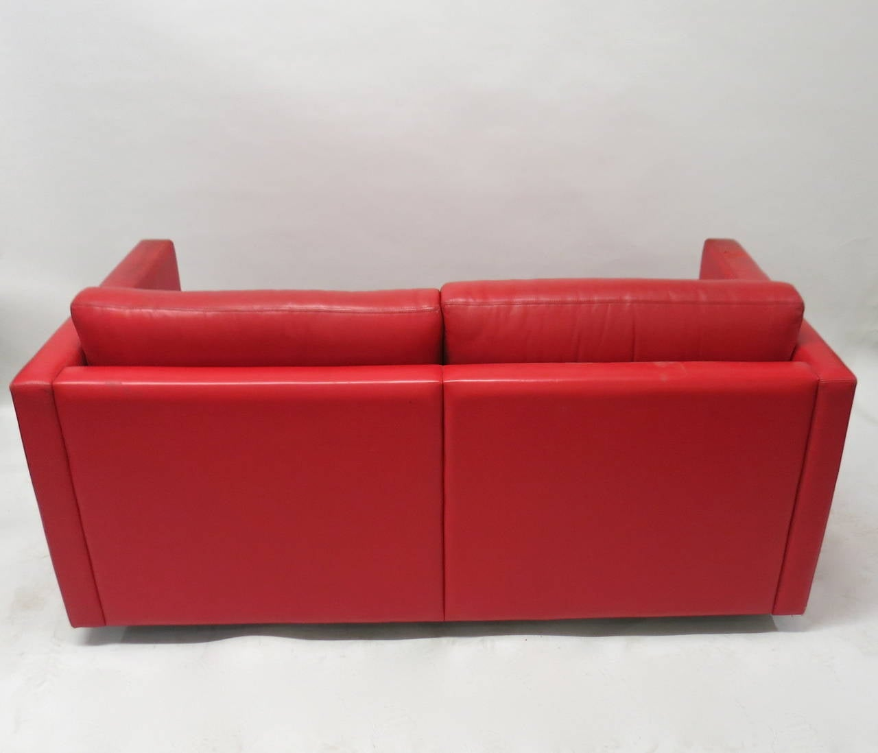 red leather two seater sofa slipcovers for sectional couch or circa 1970 made in usa