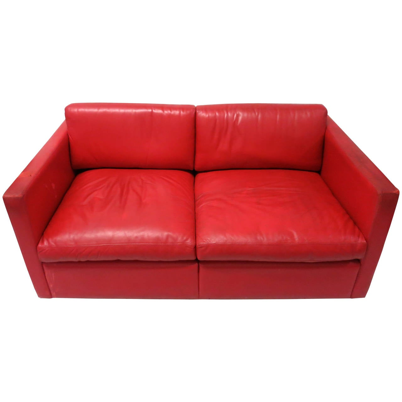 red leather two seater sofa how do i dump my circa 1970 made in usa for