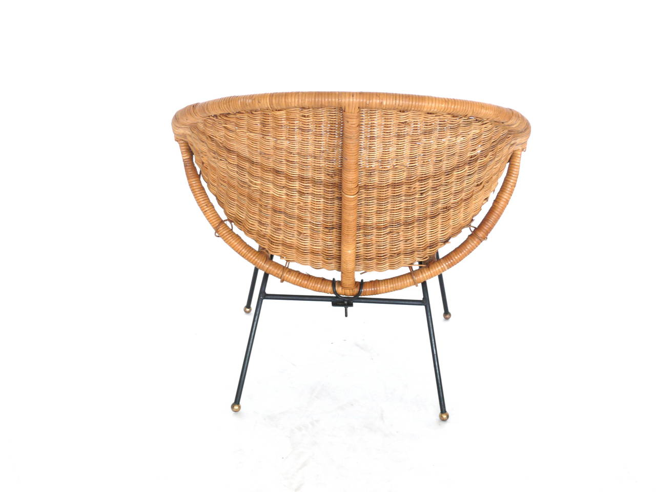 metal bucket chairs swivel chair car woven wicker and iron at 1stdibs