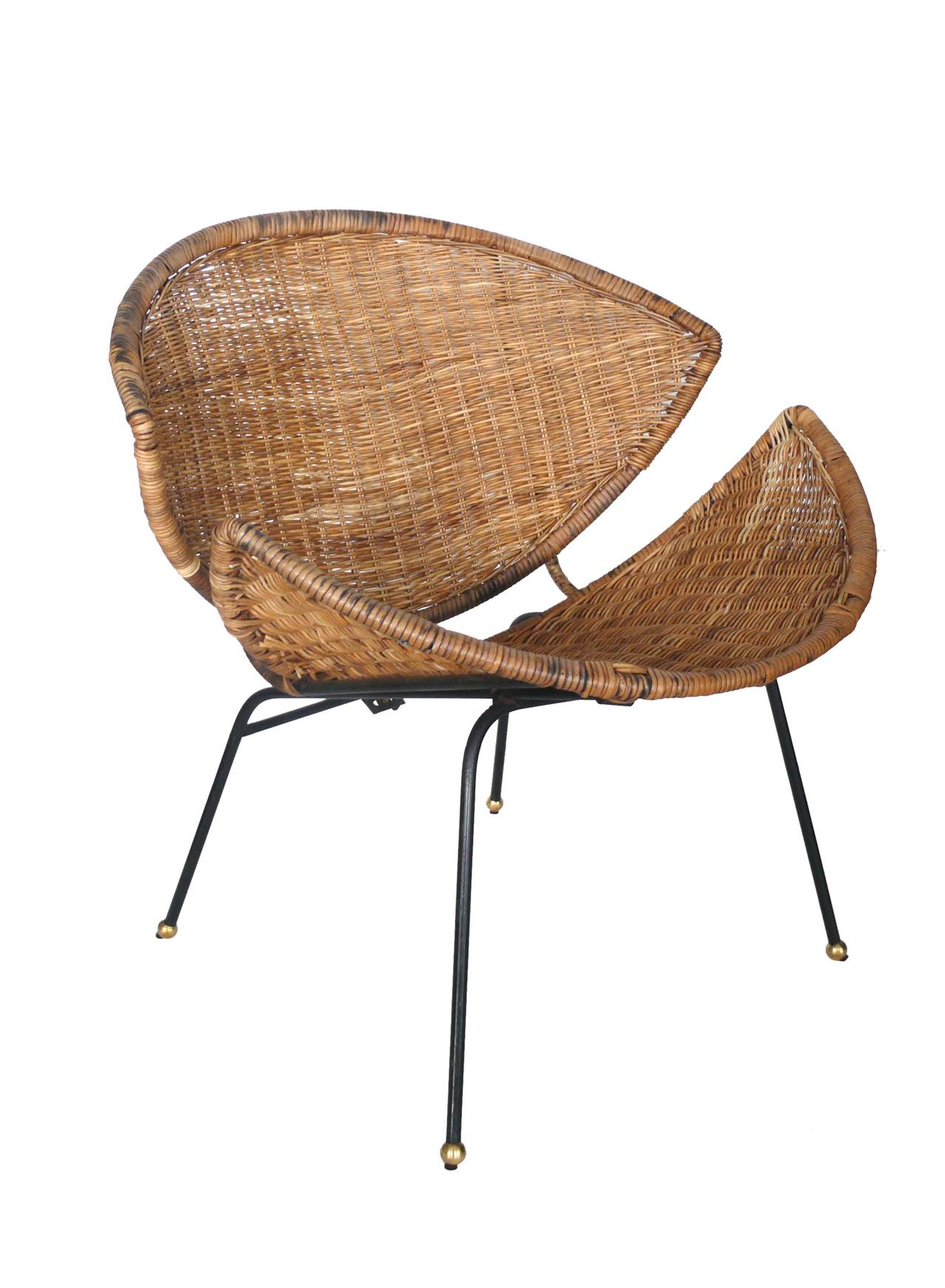 clam shell chair acrylic dining chairs sculptural wicker and rattan at 1stdibs