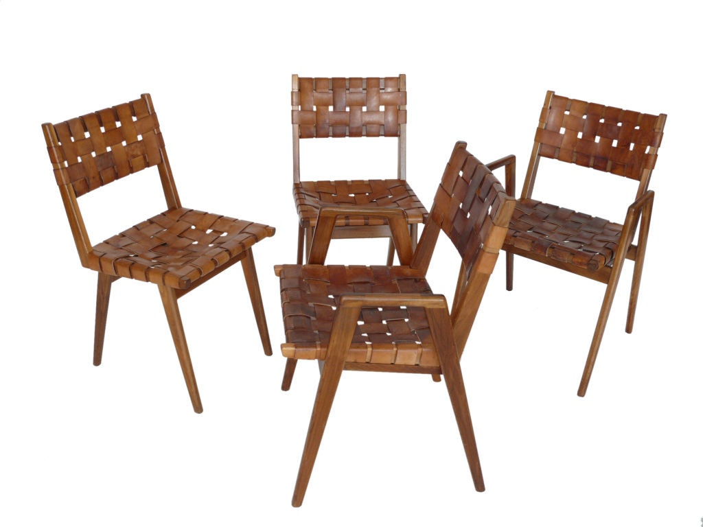Leather Woven Chair Woven Leather And Wood Chairs At 1stdibs