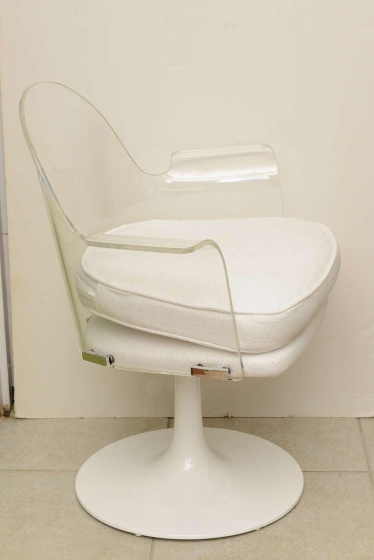 the revolving chair base white dining chairs johannesburg lucite/chrome vladimir kagan swivel desk/vanity at 1stdibs