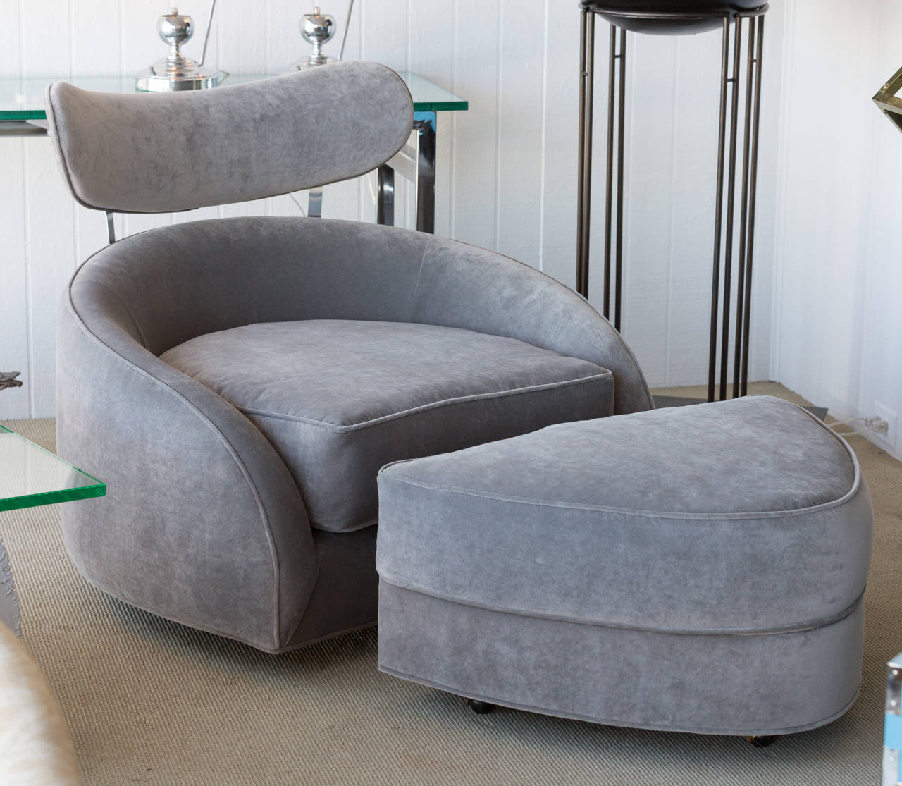 swivel club chair with ottoman re sling patio chairs adrian pearsall at 1stdibs