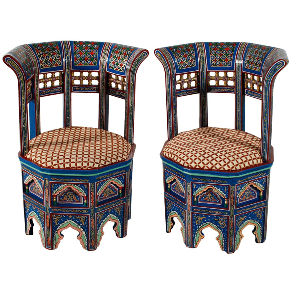 Pair of Moroccan Painted and Gilded Chairs at 1stdibs