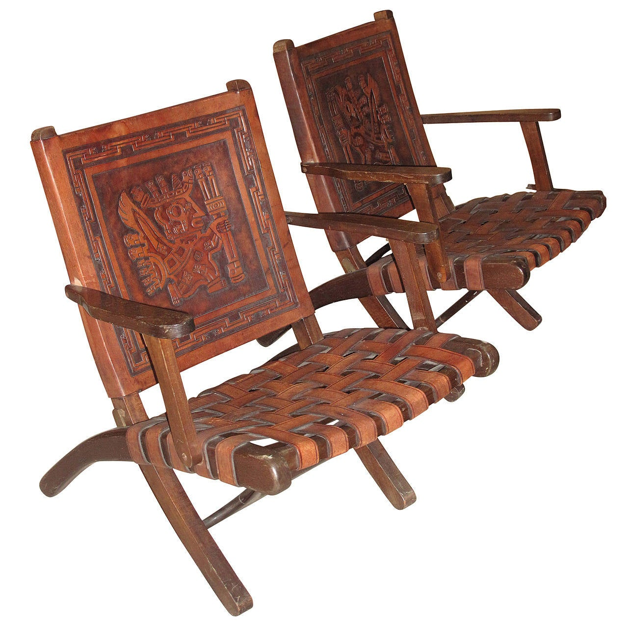 Aztec Chair Pair Of 1970s Folding Armchairs With Hand Tooled Aztec