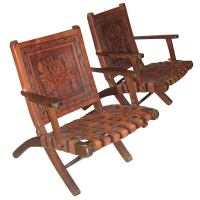 Pair of 1970s Folding Armchairs with Hand Tooled Aztec