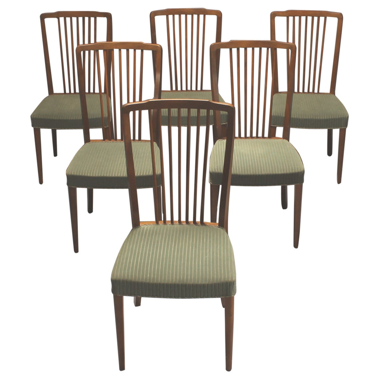 Spindle Dining Chairs Set Of Six 1940s Danish Spindle Back Dining Chairs At 1stdibs