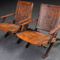 Folding Chair No Arms C Frame Hanging Stand Pair Of 1970s Peruvian Embossed Leather Chairs At 1stdibs
