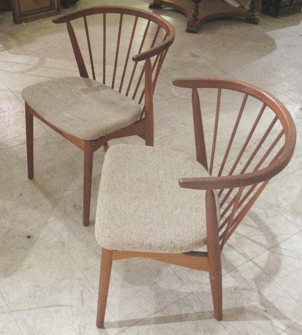 Pair Of Danish Spindle Back Teak Chairs By Helge Sibast 1950s 1960s For Sale At 1stdibs