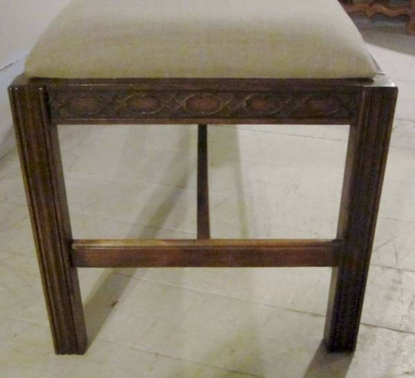 Upholstered English Chippendale Style Mahogany Bench 19th