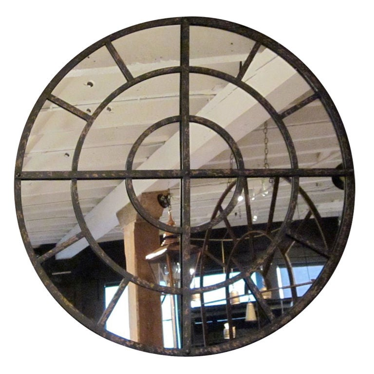Large Round Industrial Mirror At 1stdibs