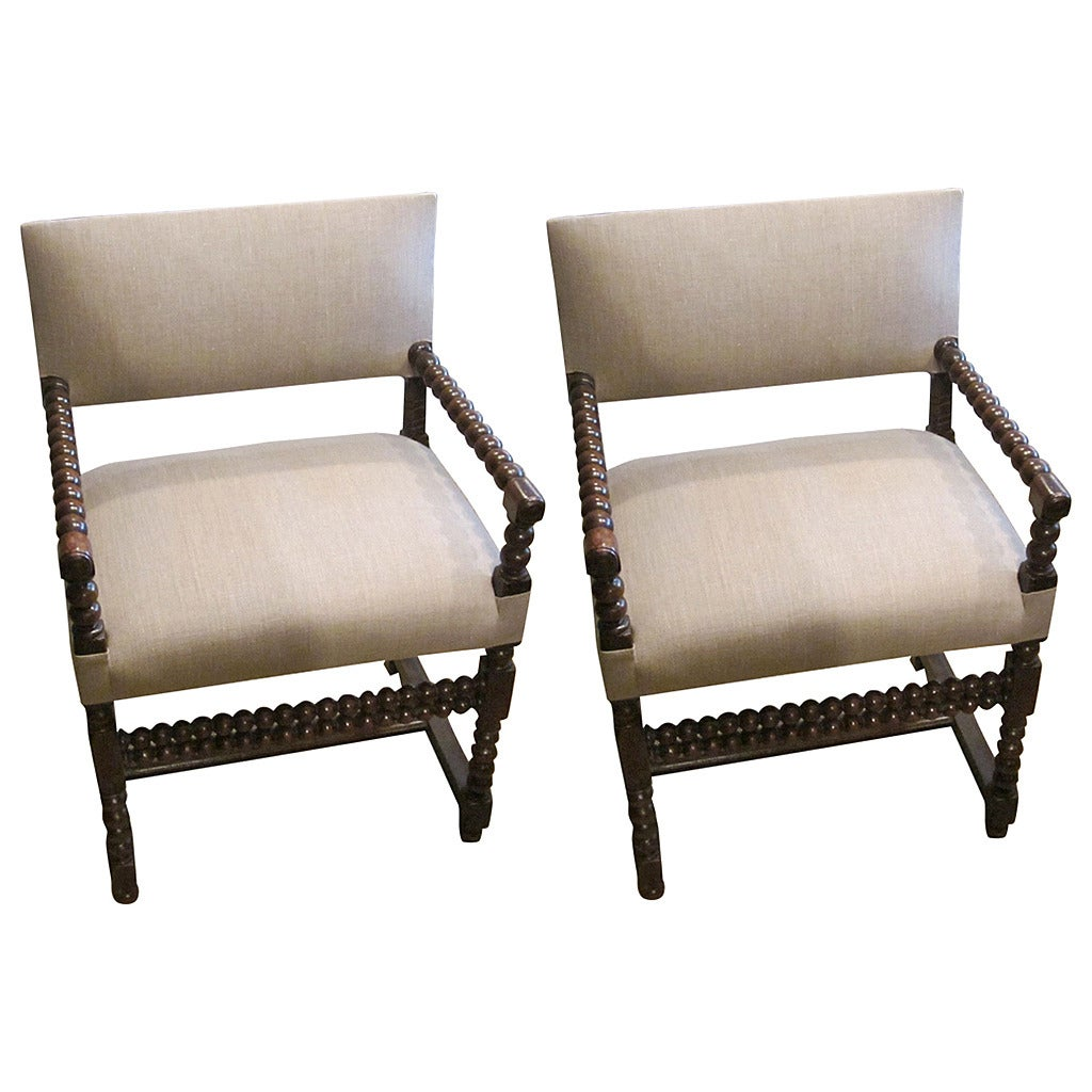 spool chair for sale swing replacement 18th century pair of his and hers upholstered side