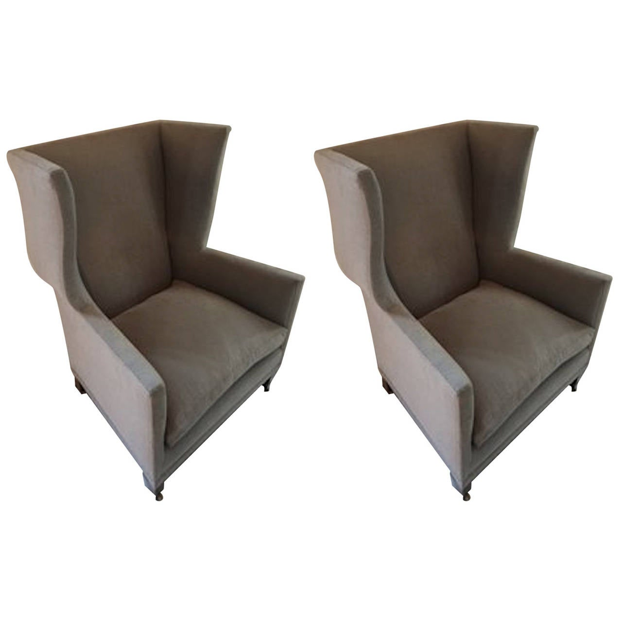 arm chairs for sale extra big folding chair english style upholstered pair of grey wing back armchairs