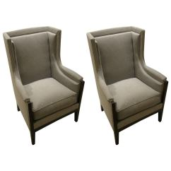 Grey Club Chair Wheelchair Taxi Pair Of French Arts And Crafts Upholstered