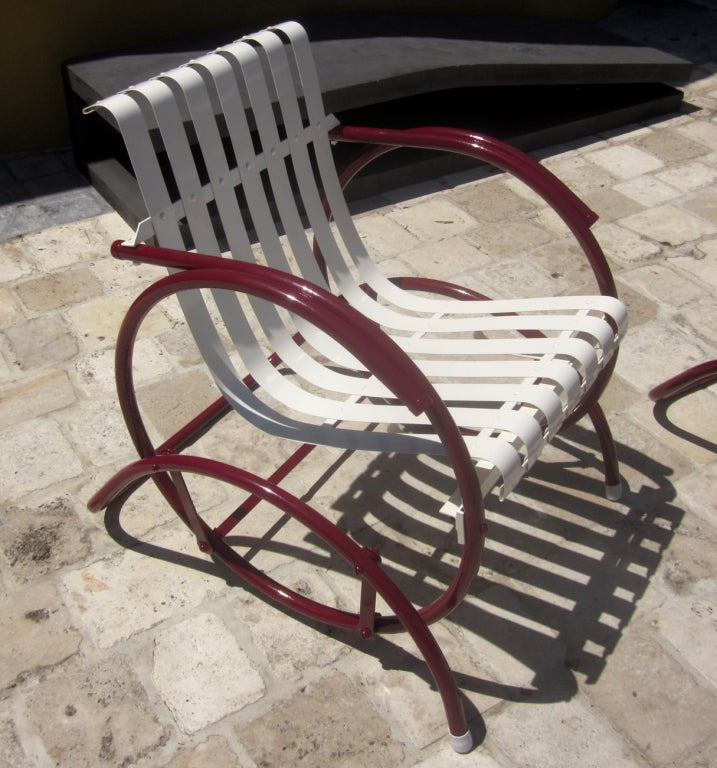 metal glider sofa best fabric for kids art deco patio seating set at 1stdibs