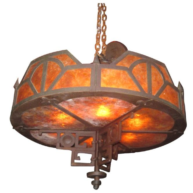 Craftsman Style Iron And Mica Chandelier 1