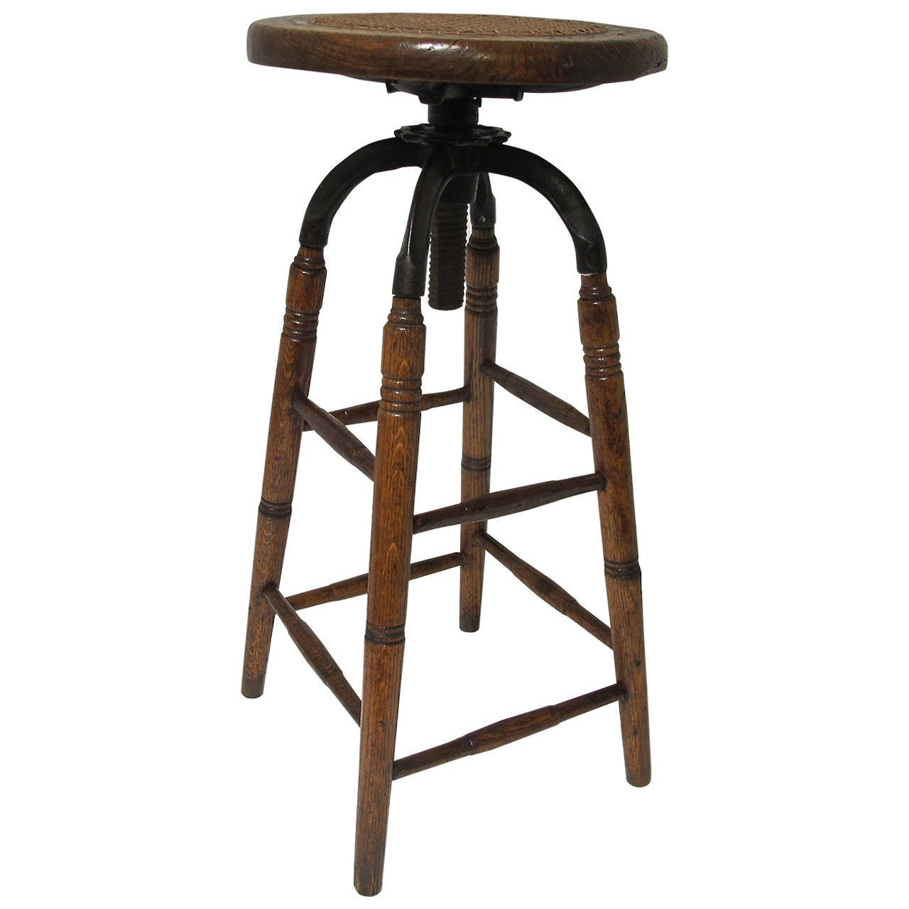 cane with chair indoor hanging swing stand oak and iron industrial stool seat at 1stdibs