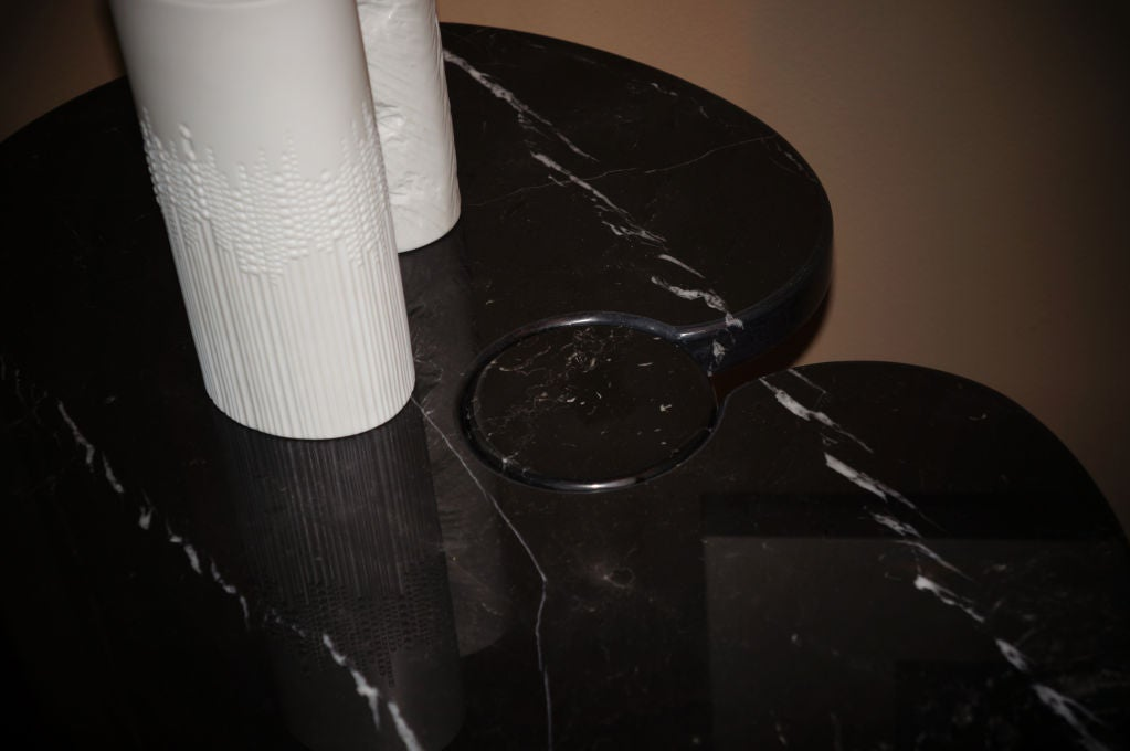 Black And White Marble Side Table By Angelo Mangiarotti At