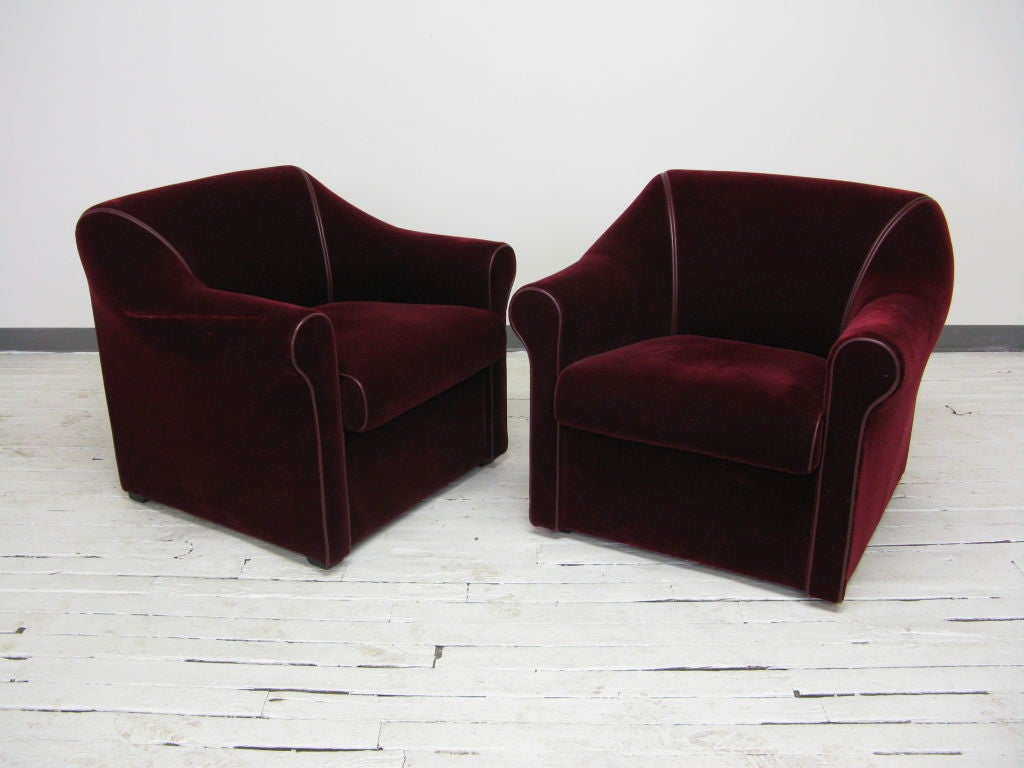 art deco style club chairs fishing swivel chair pair of mohair at 1stdibs