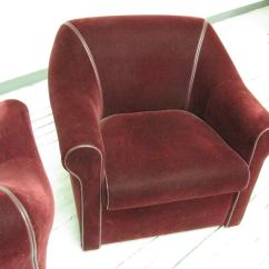 Art Deco Style Club Chairs One Piece Rocking Chair Cushions Pair Of Mohair At 1stdibs