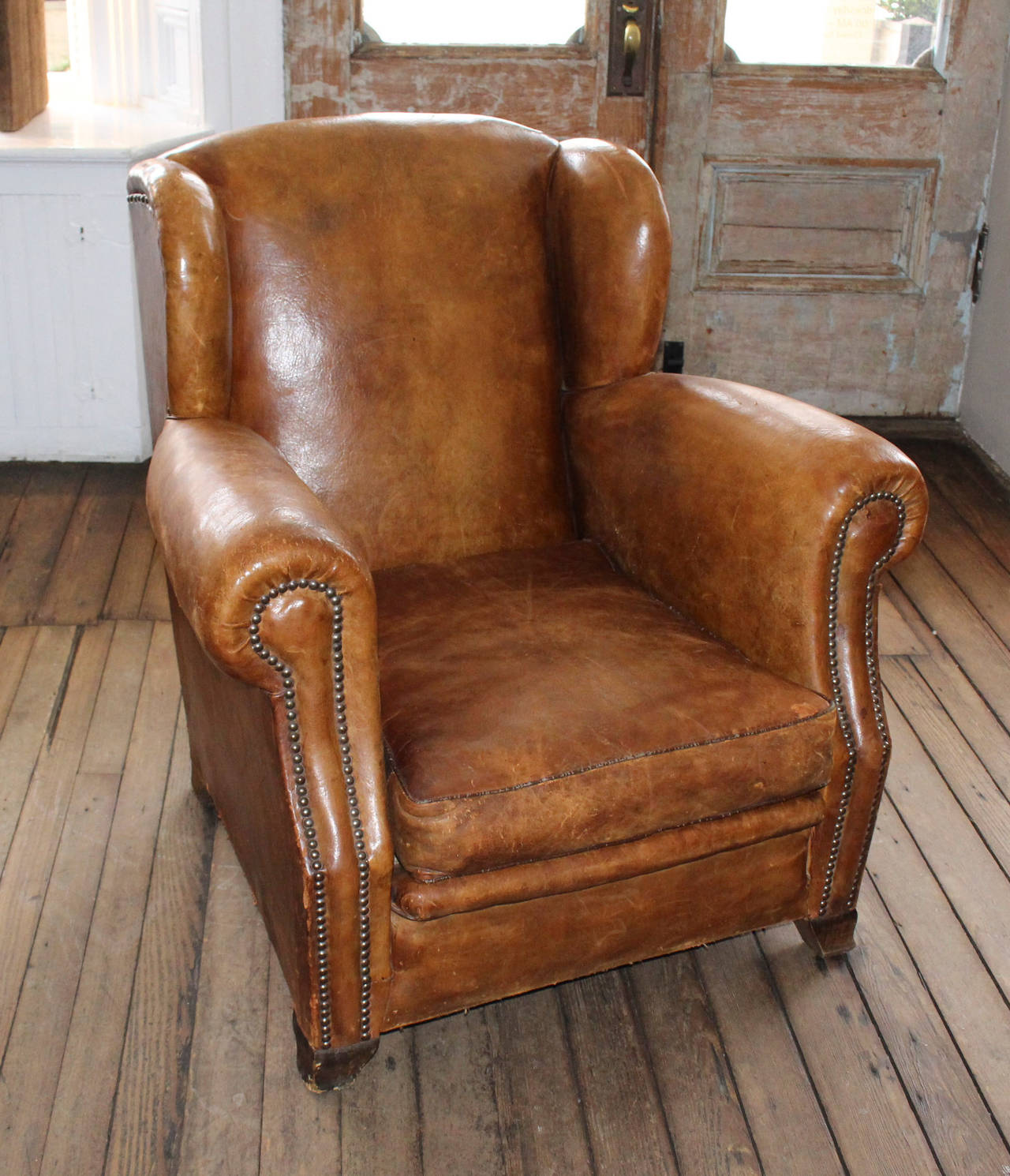 French Club Chair Vintage Pair Of French Leather Club Chairs At 1stdibs