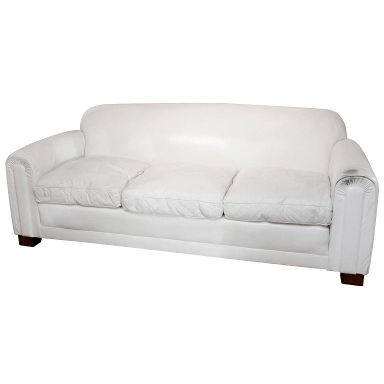 jean michel frank style sofa narrow beds uk deco-style white leather at 1stdibs