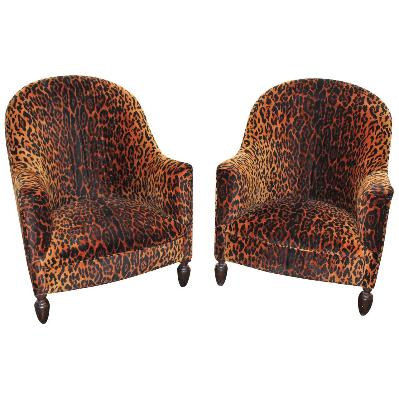 Vintage Club Chairs Vintage French Pair Of Leopard Club Chairs With Ottoman At