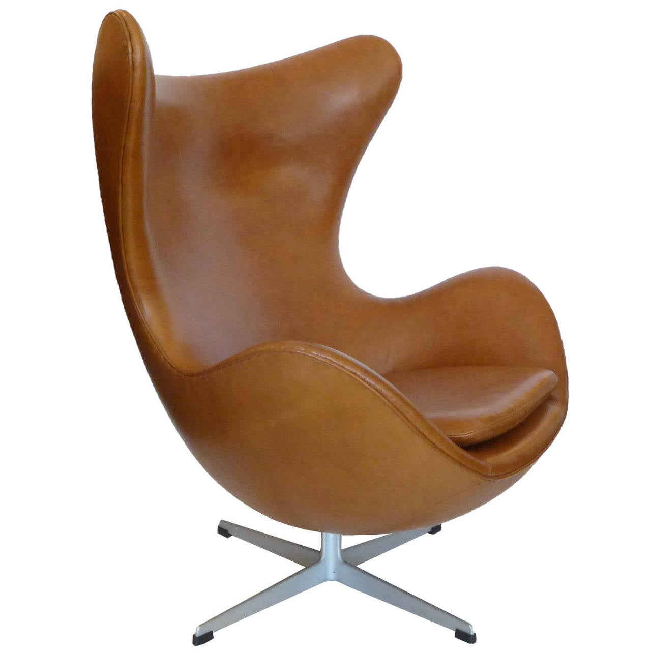 Brown Leather Egg Chair Original Carmel Tan Egg Chair And Ottoman By Arne Jacobsen