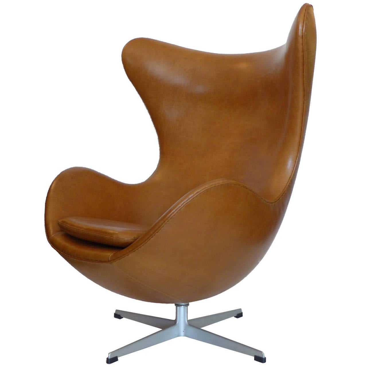 orange egg chair vanity chairs with casters original carmel tan and ottoman by arne jacobsen