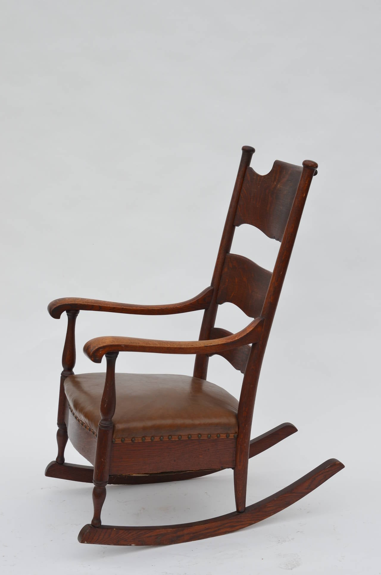 comfortable rocking chair stool with arms arts and crafts carved oak at