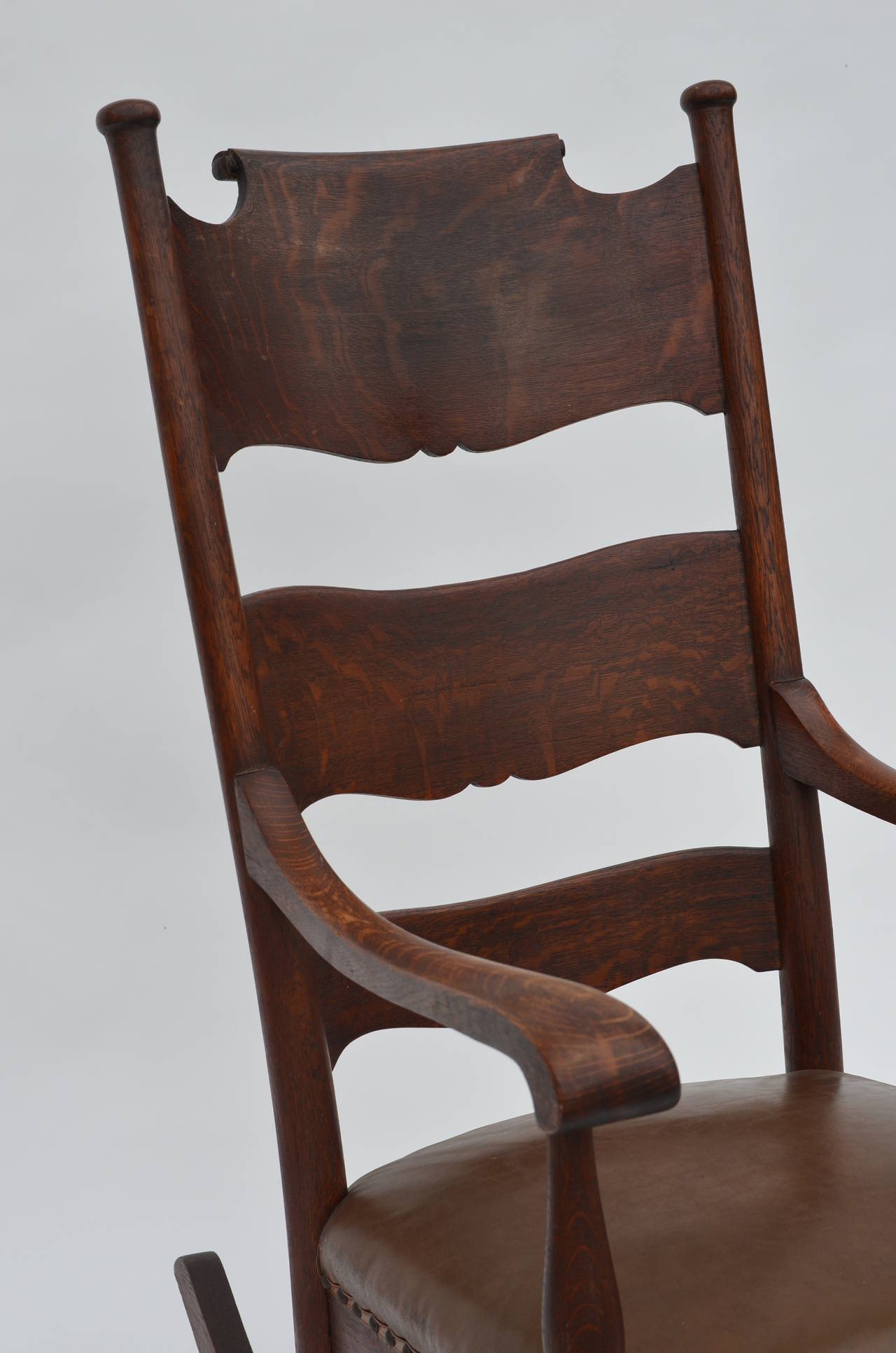 comfortable rocking chair cane chairs arts and crafts carved oak at