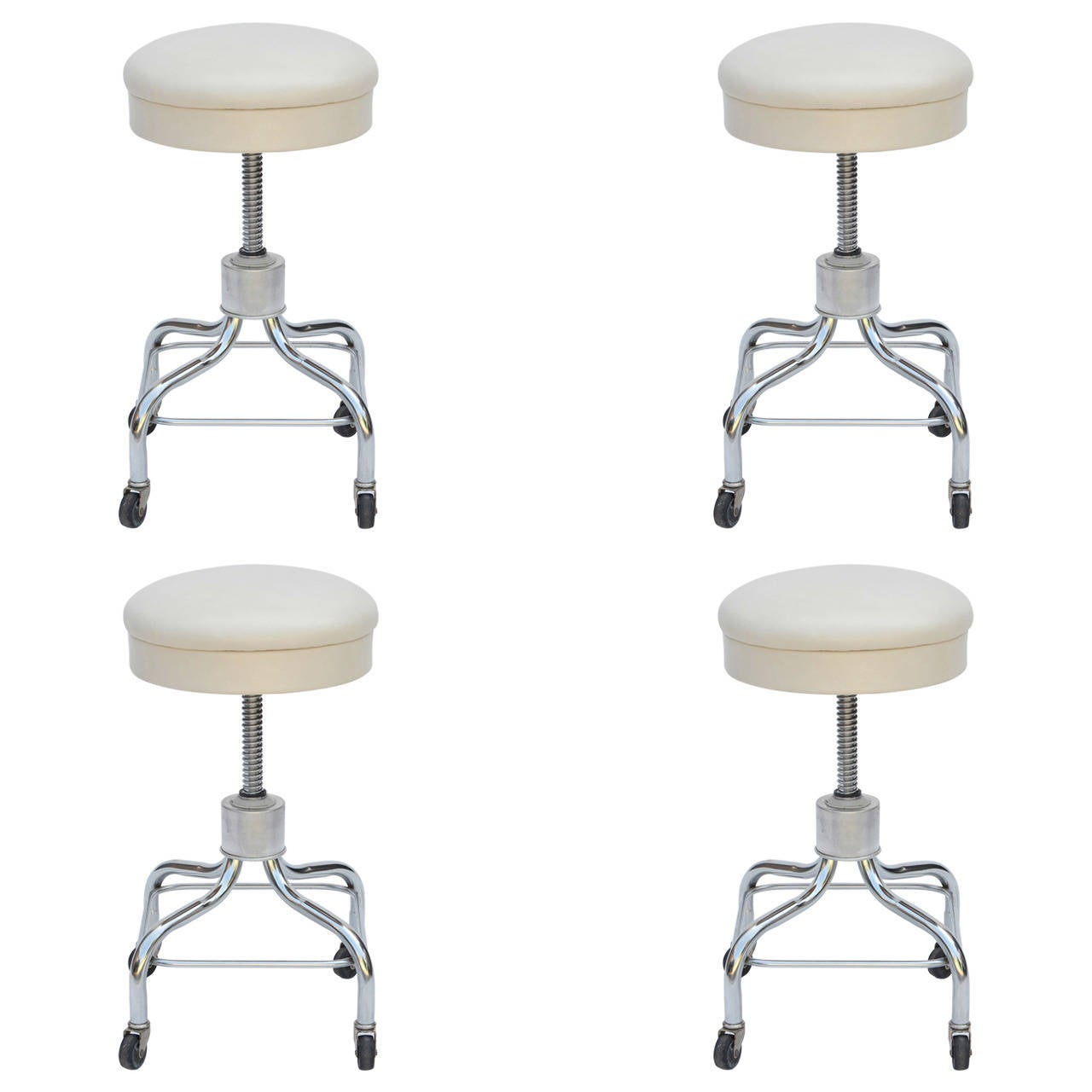 white rolling chair shoprider power set of four vintage chrome and leather adjustable