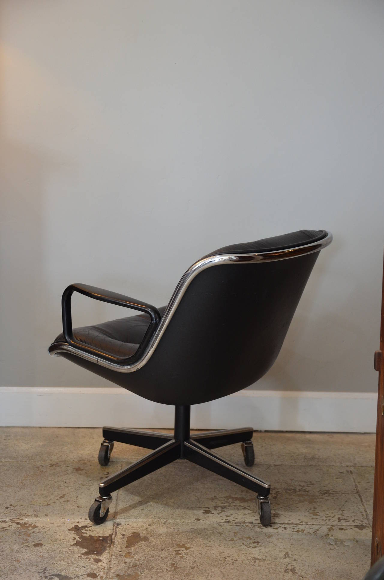 Charles Pollock Chair Midcentury Executive Desk Leather Chair By Charles Pollock